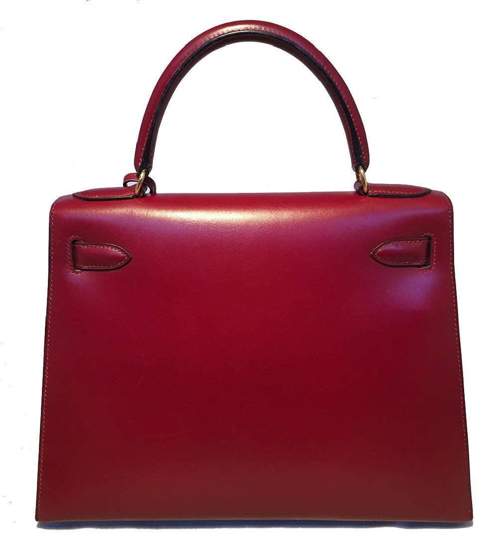 Hermes Vintage Rouge Box Calf 28cm Kelly Bag with Strap - 4