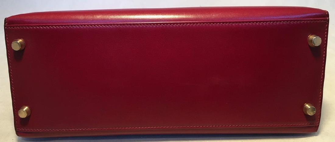 Hermes Vintage Rouge Box Calf 28cm Kelly Bag with Strap - 5