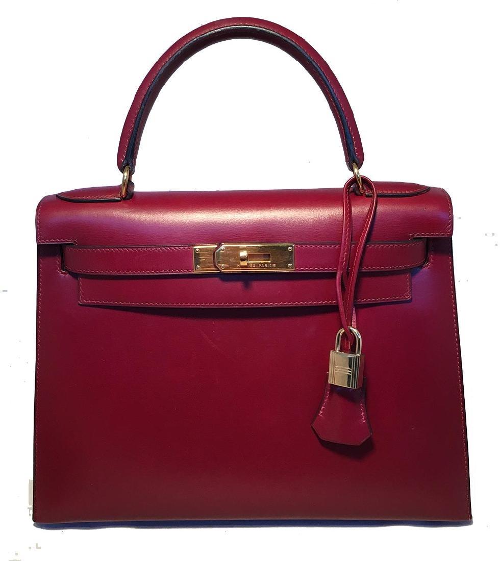 Hermes Vintage Rouge Box Calf 28cm Kelly Bag with Strap - 6