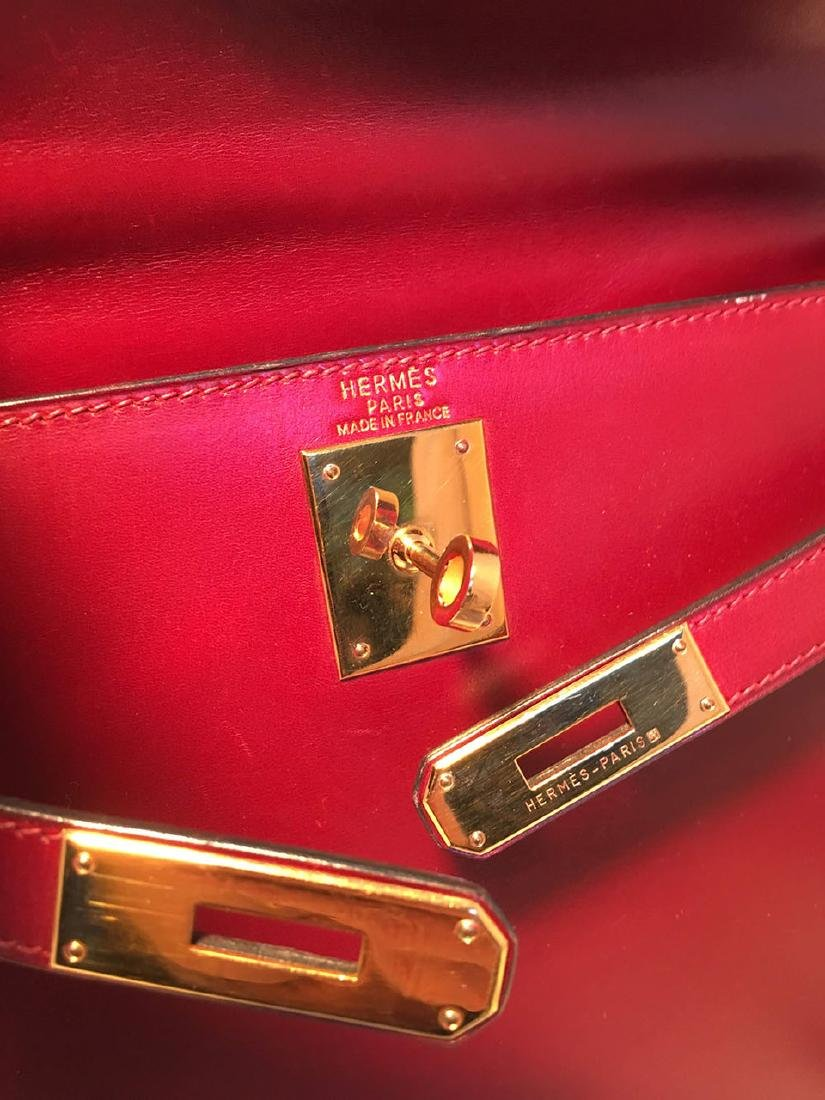 Hermes Vintage Rouge Box Calf 28cm Kelly Bag with Strap - 7