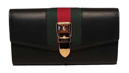 6d81e9e77e5d Gucci Navy Blue Leather Long Sylvie Wallet