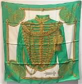 Hermes Vintage Brandebourgs Silk Scarf in Green c1970s