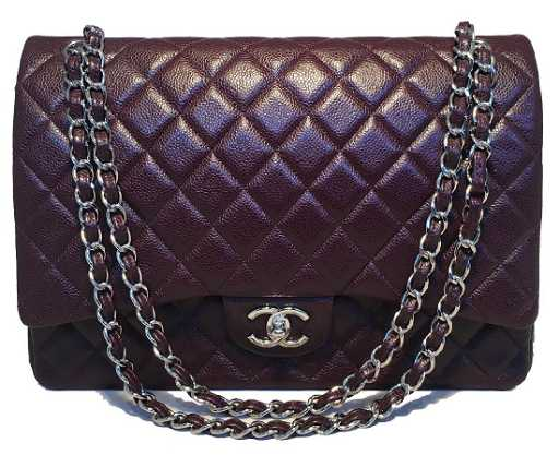 3c8d5c0021e8 Chanel Dark Plum Purple Caviar 2.55 Double Flap Classic
