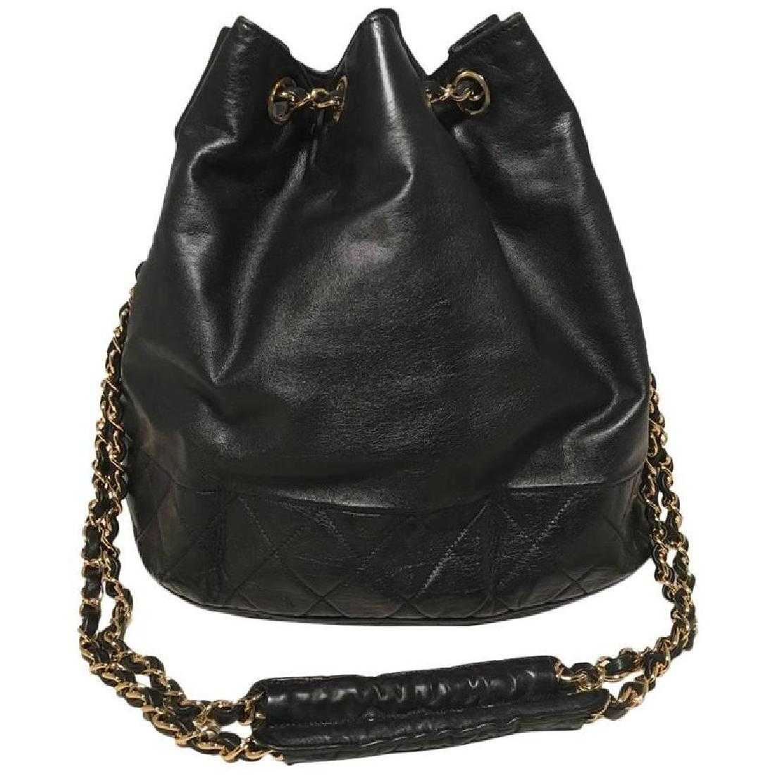 92bcb6f14aa74e Chanel Vintage Black Leather Drawstring Bucket Shoulder