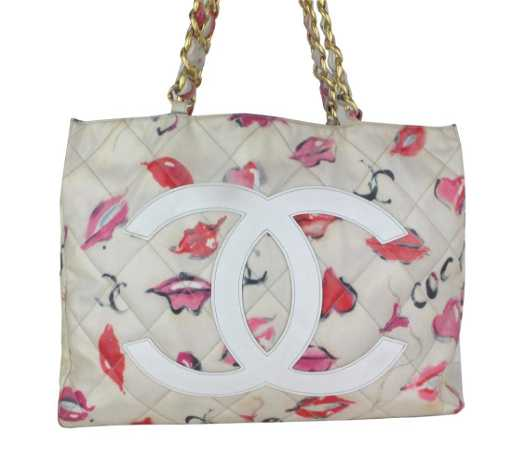 e03015d28c0f04 CHANEL Vintage Coated Canvas Quilted Lips and Kisses