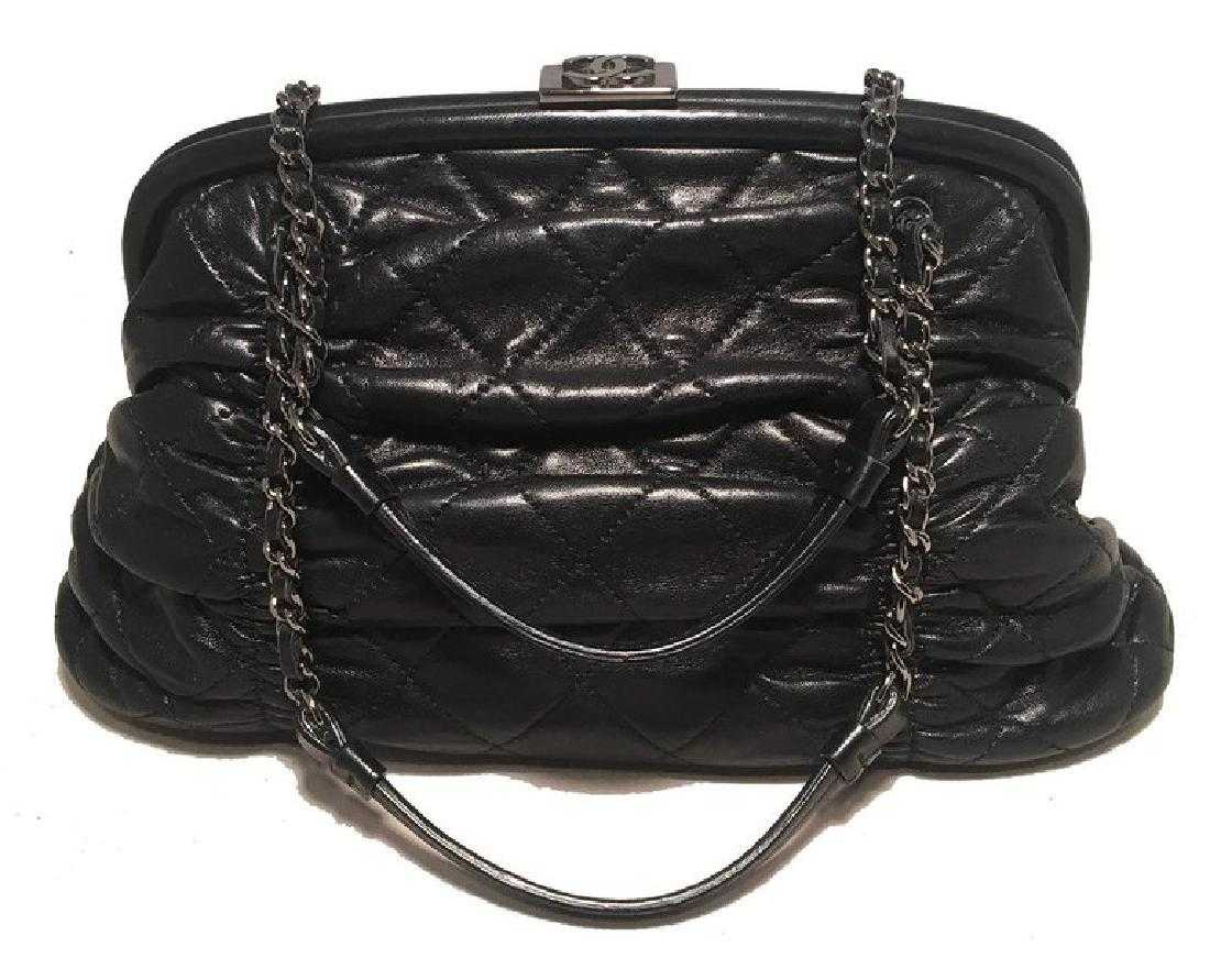 3ef26eb41833 Chanel Black Quilted Ruched Leather Small Sharpei Frame