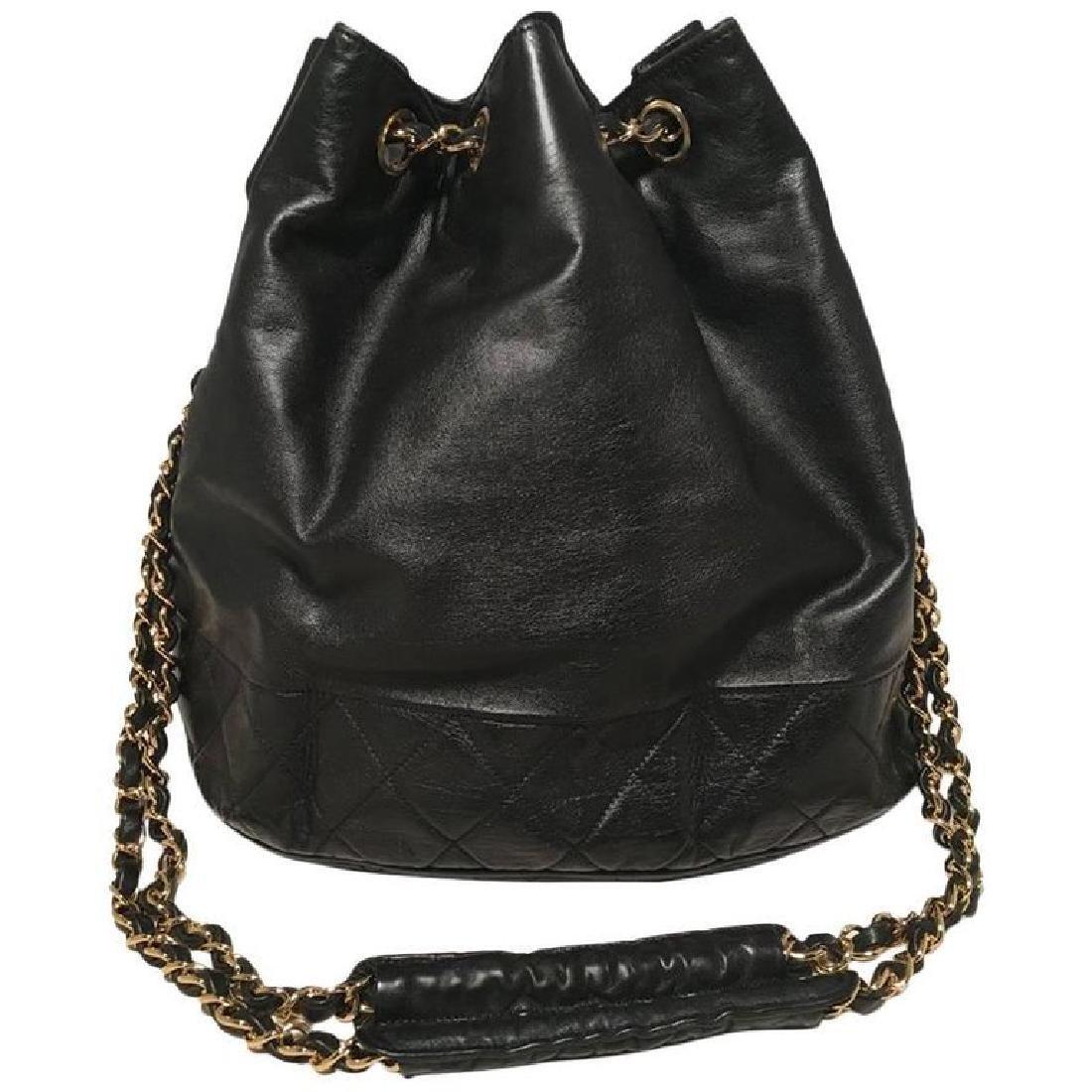 Chanel Vintage Black Leather Drawstring Bucket Shoulder