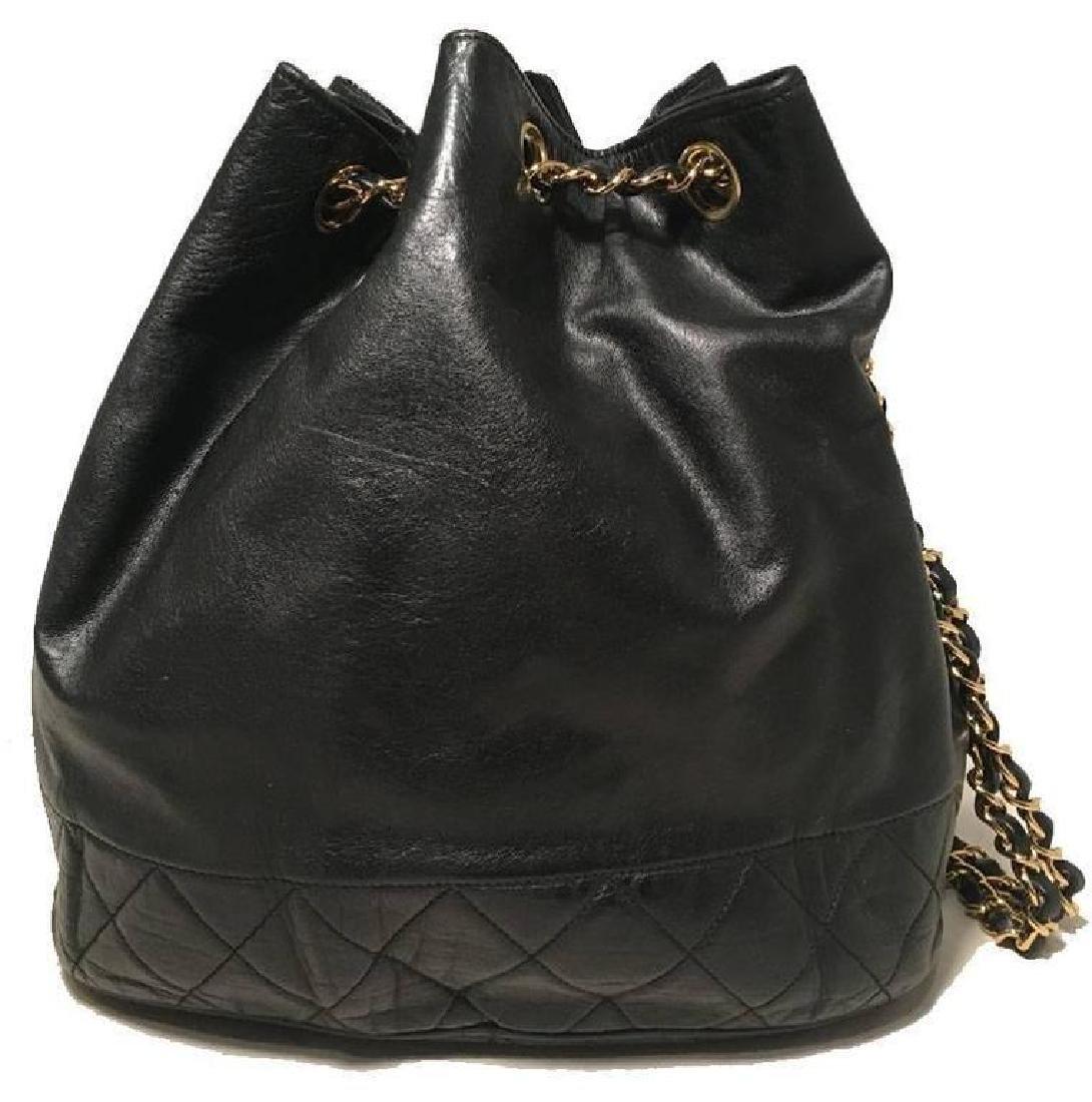 Chanel Vintage Black Leather Drawstring Bucket Shoulder - 3