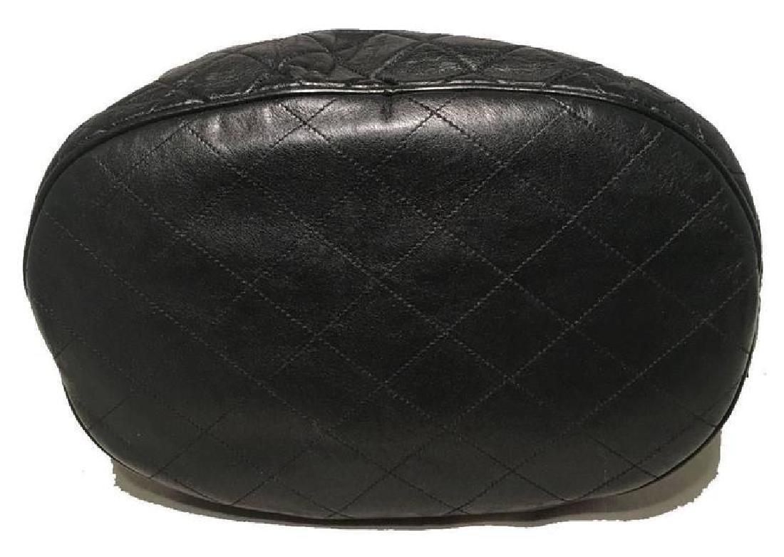 Chanel Vintage Black Leather Drawstring Bucket Shoulder - 4