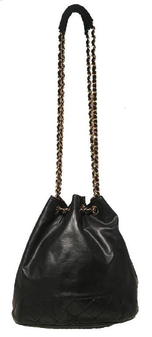 Chanel Vintage Black Leather Drawstring Bucket Shoulder - 5