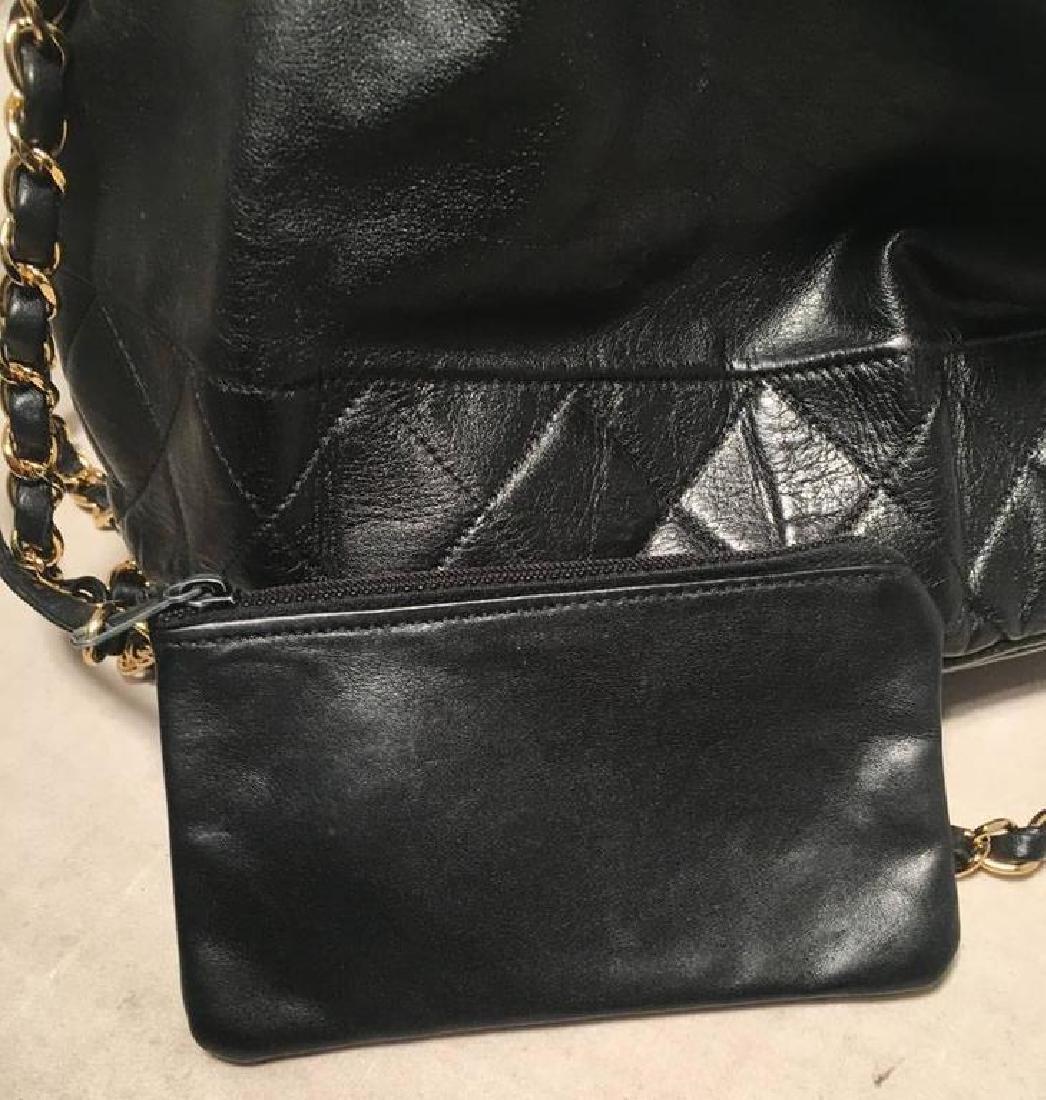 Chanel Vintage Black Leather Drawstring Bucket Shoulder - 9