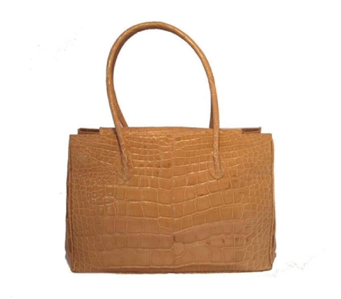 Alexandra Knight Tan Alligator Handbag - 2