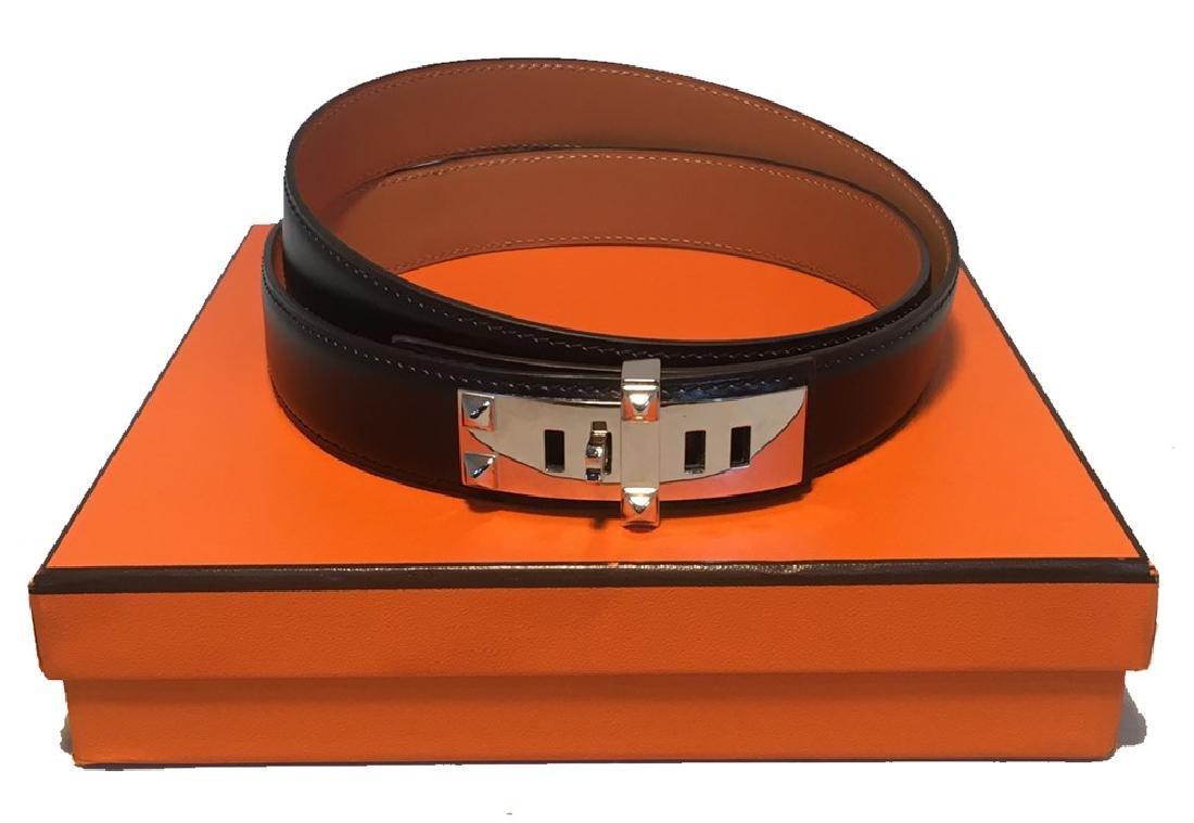 Hermes 95cm Black Leather Silver PDH Belt