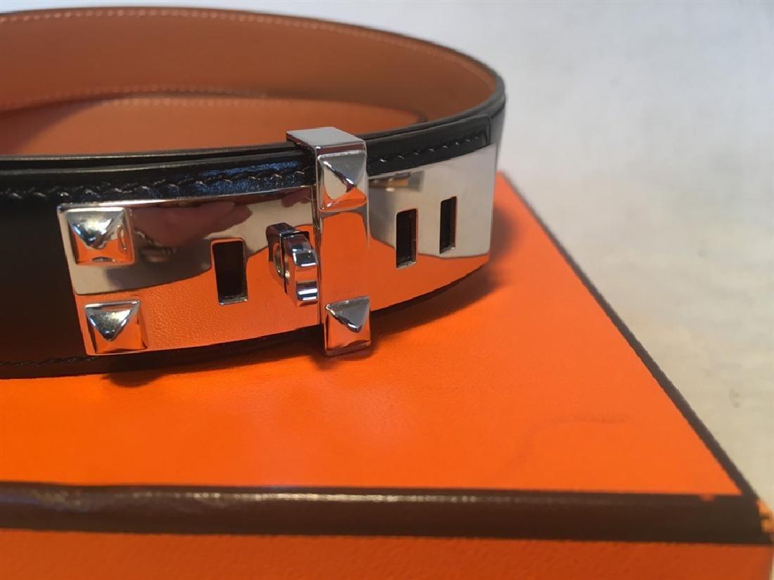 Hermes 95cm Black Leather Silver PDH Belt - 3