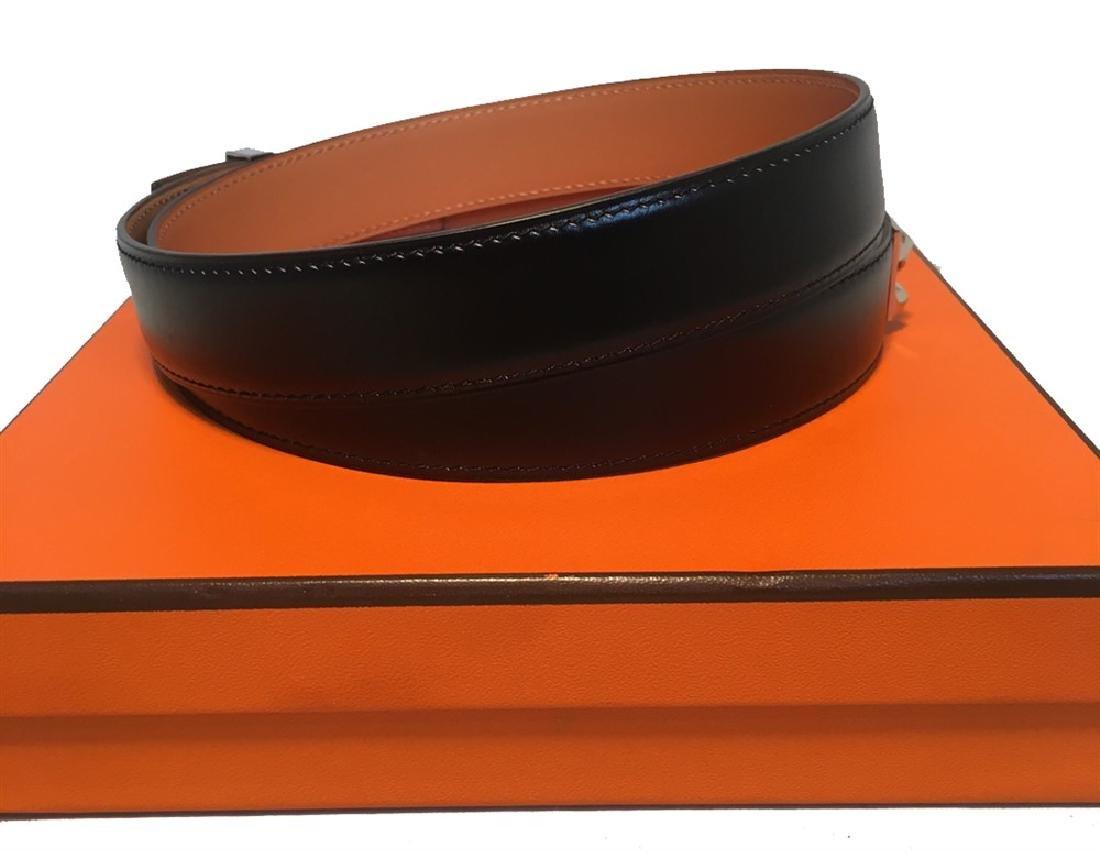 Hermes 95cm Black Leather Silver PDH Belt - 5