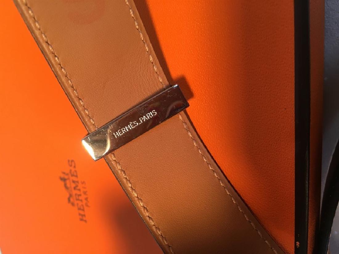Hermes 95cm Black Leather Silver PDH Belt - 6