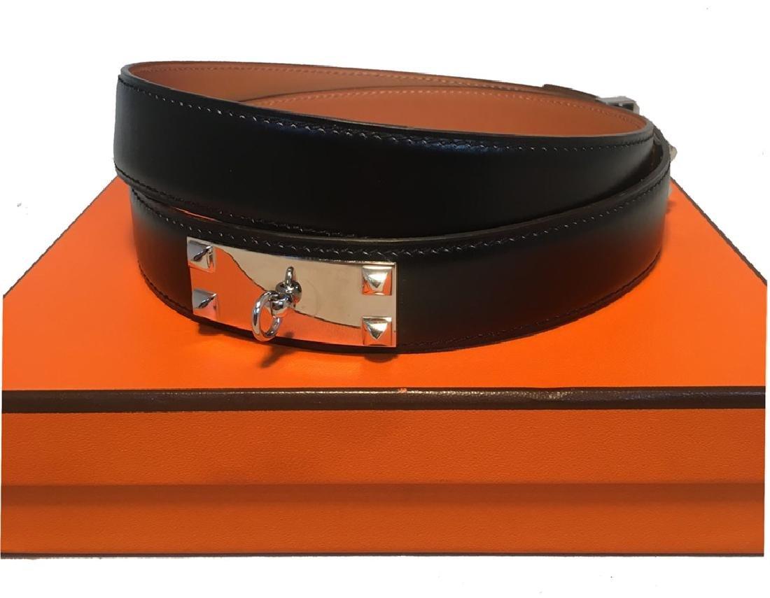 Hermes 95cm Black Leather Silver PDH Belt - 7