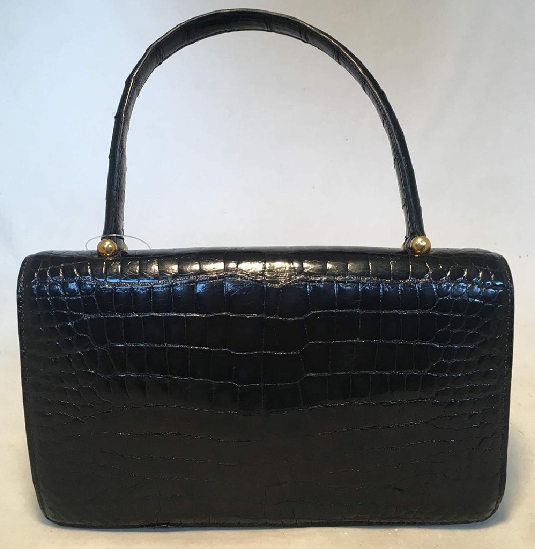 Hermes Vintage Black Alligator Handbag, circa 1960s - 2