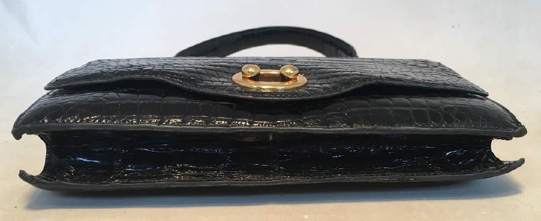 Hermes Vintage Black Alligator Handbag, circa 1960s - 4