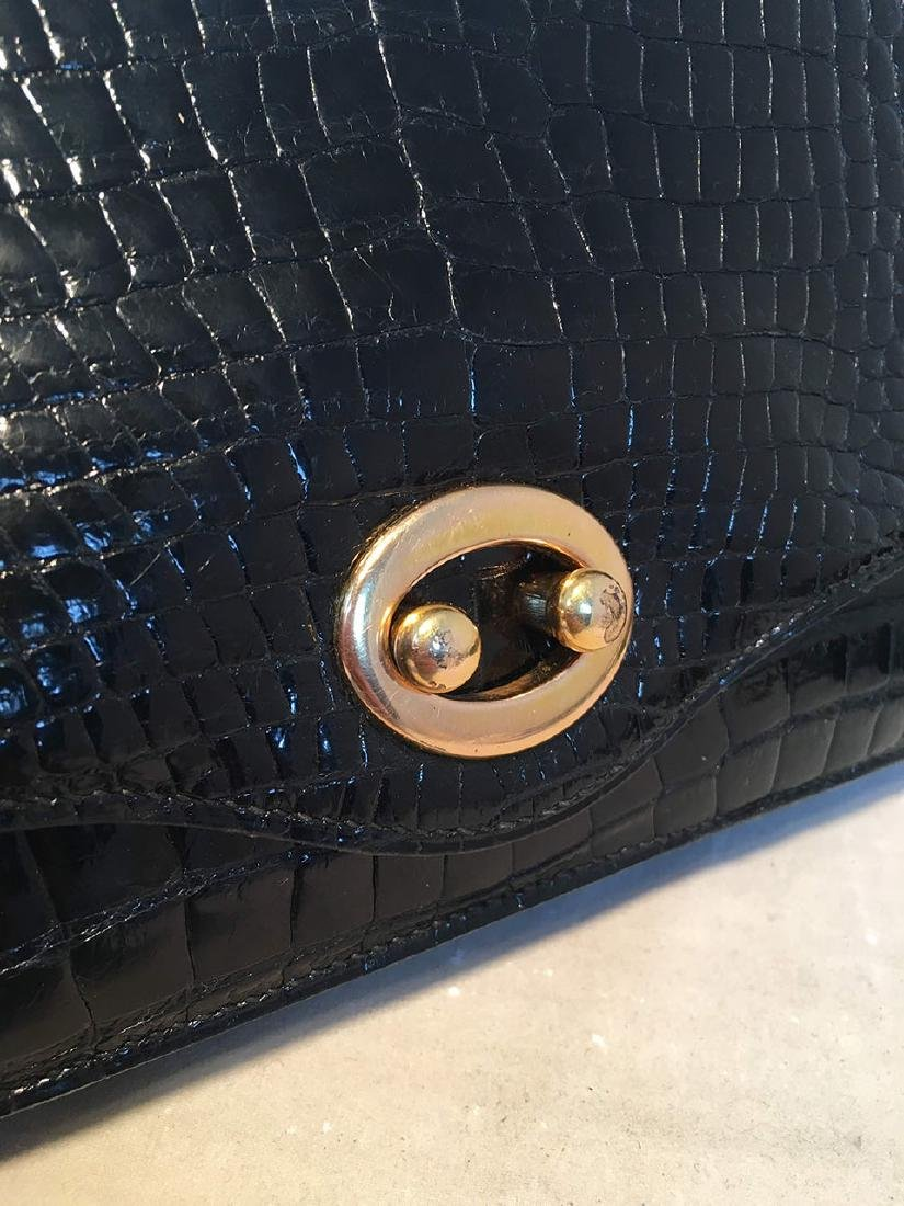 Hermes Vintage Black Alligator Handbag, circa 1960s - 5