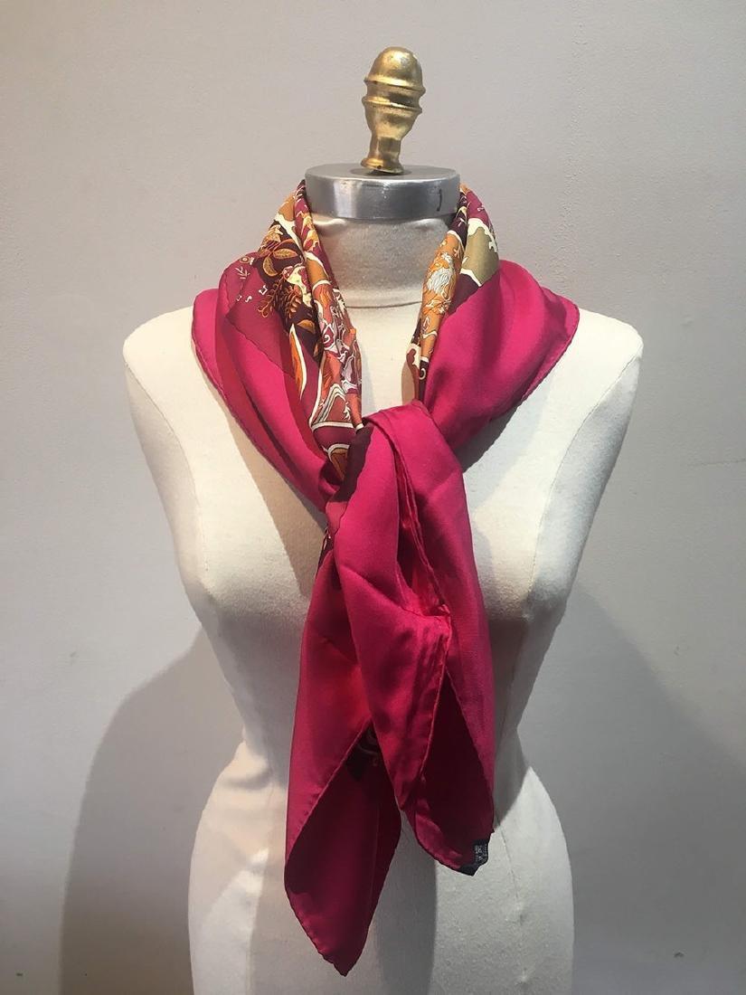 Hermes Rives Fertiles Silk Scarf in Magenta - 3