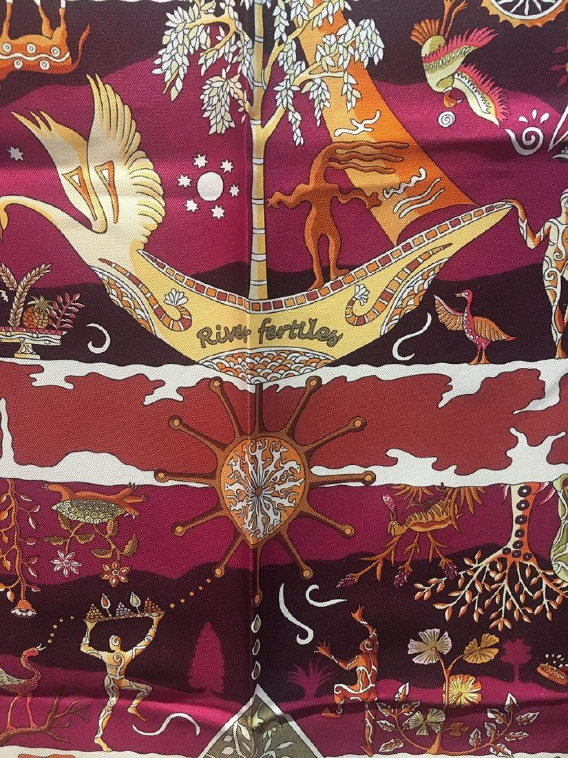 Hermes Rives Fertiles Silk Scarf in Magenta - 5