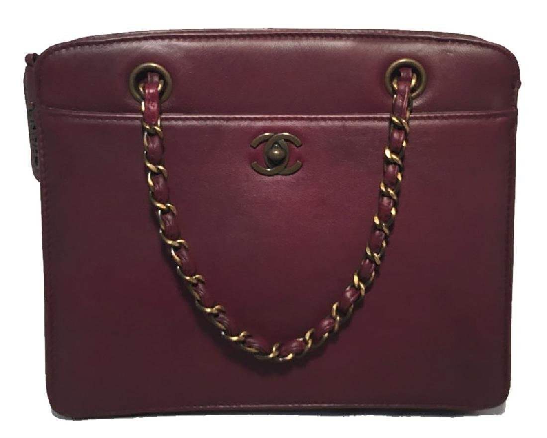 RARE Chanel Maroon Leather Handbag