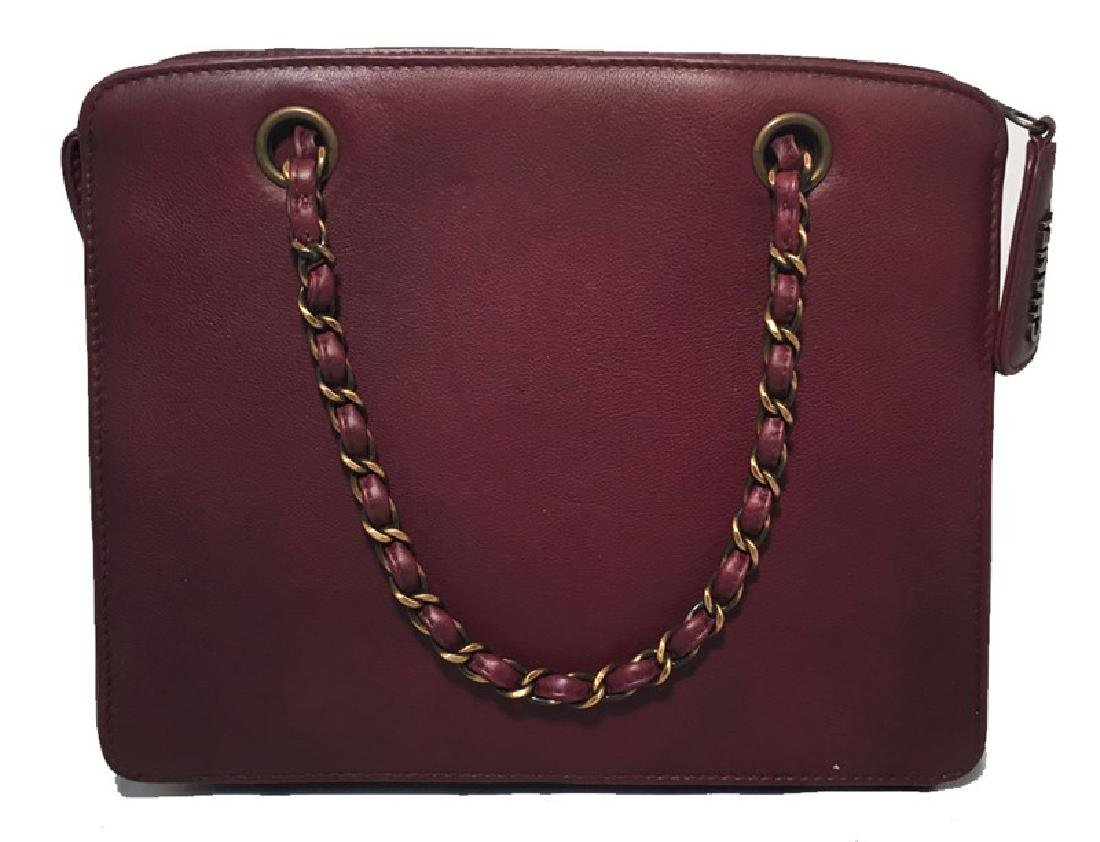 RARE Chanel Maroon Leather Handbag - 2