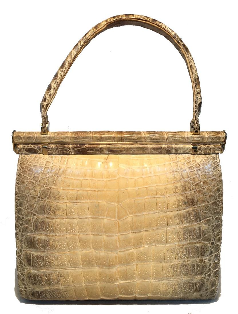 Vintage 1960s Natural Beige Crocodile Handbag - 3