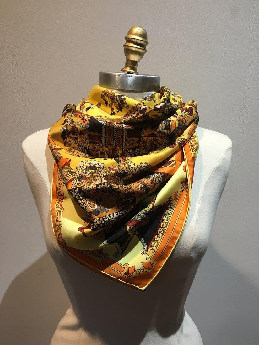 Hermes Vintage Astres et Soleils Silk Scarf in Yellow - 2
