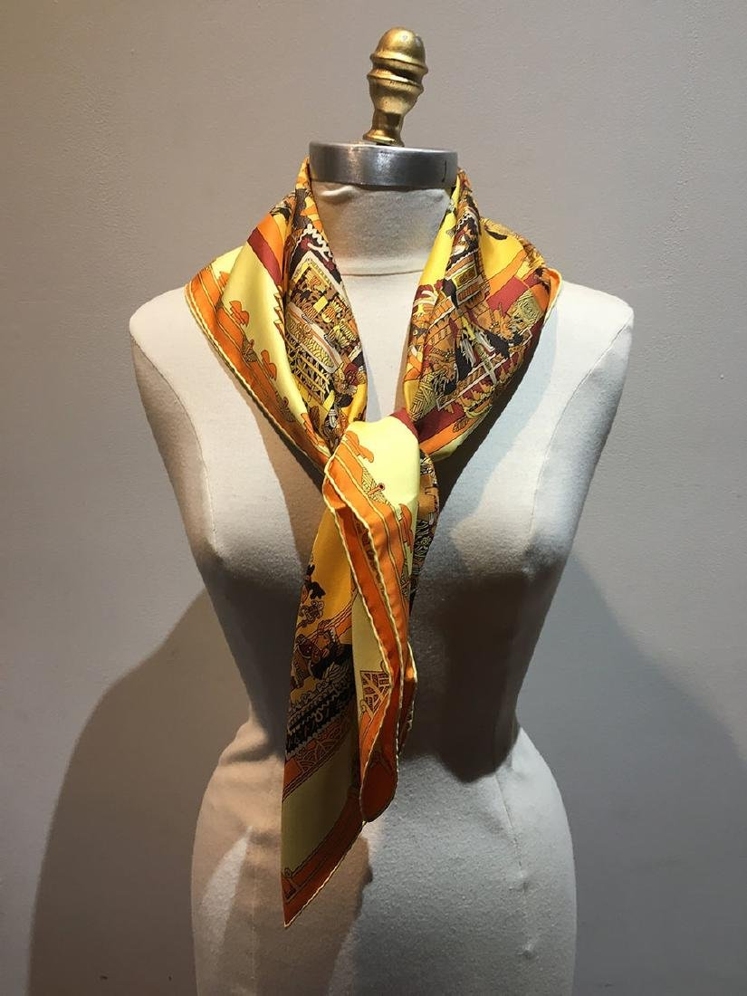 Hermes Vintage Astres et Soleils Silk Scarf in Yellow - 3