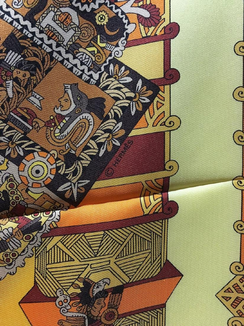Hermes Vintage Astres et Soleils Silk Scarf in Yellow - 5