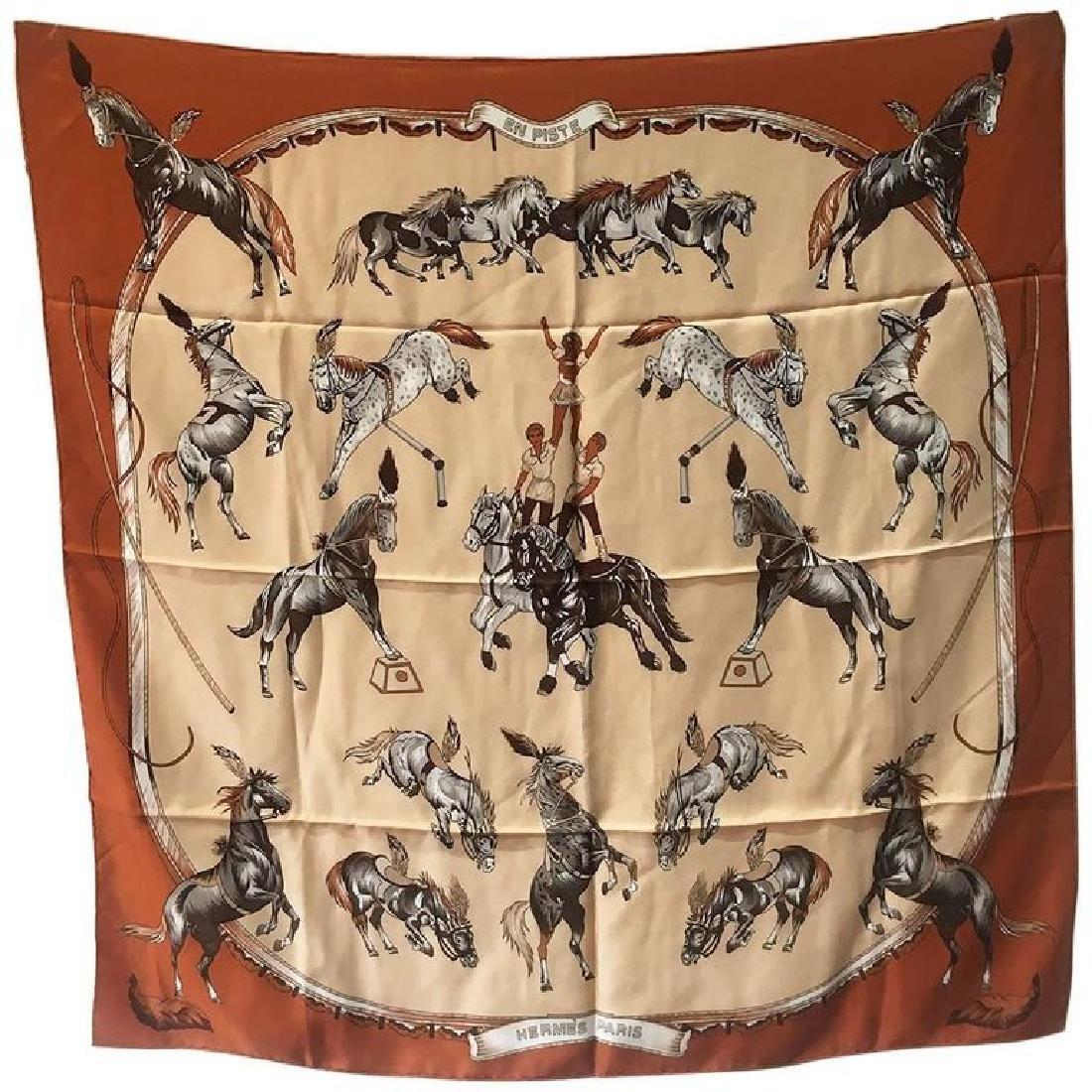 Hermes Vintage En Piste Brown Silk Scarf, circa 1998