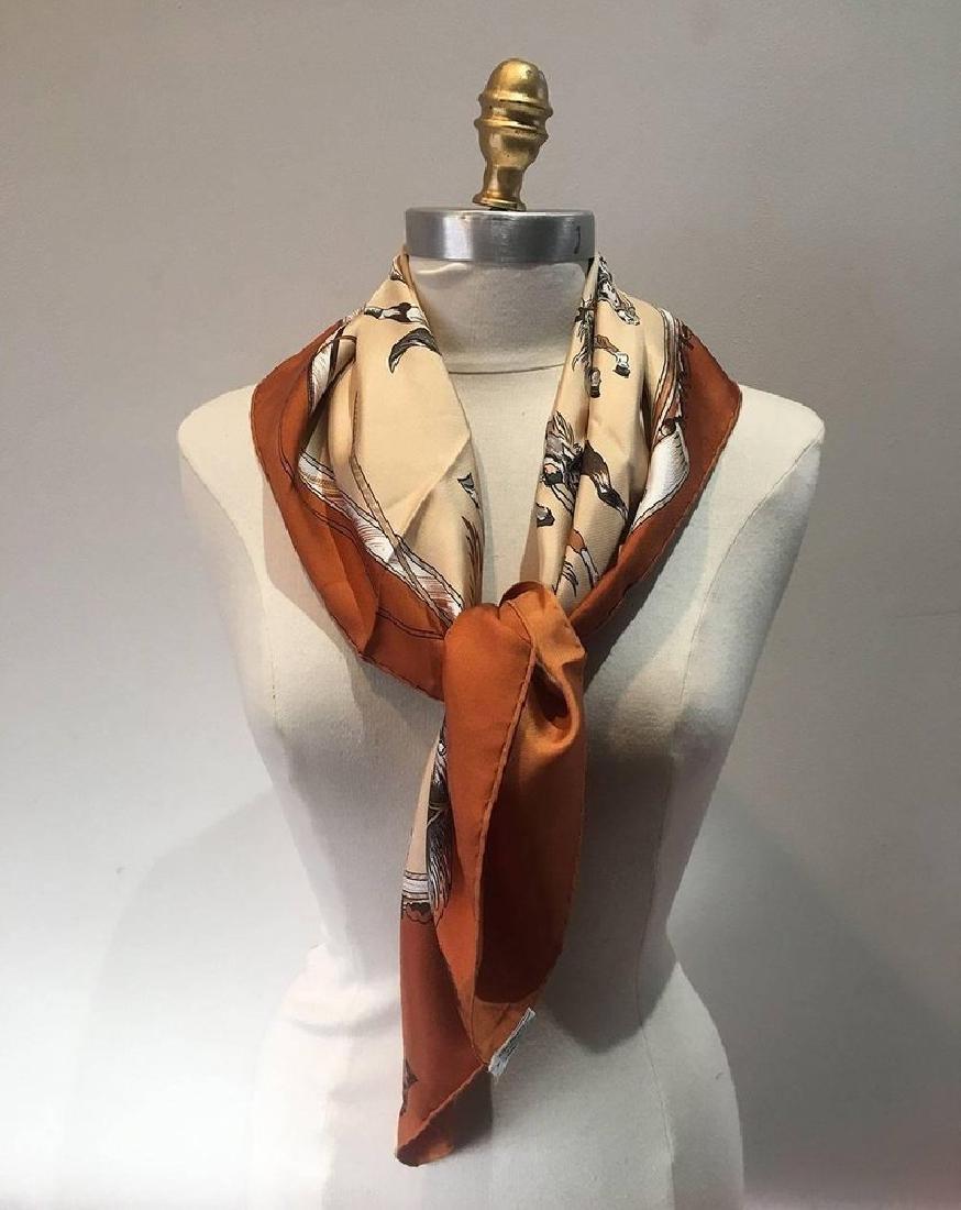Hermes Vintage En Piste Brown Silk Scarf, circa 1998 - 3