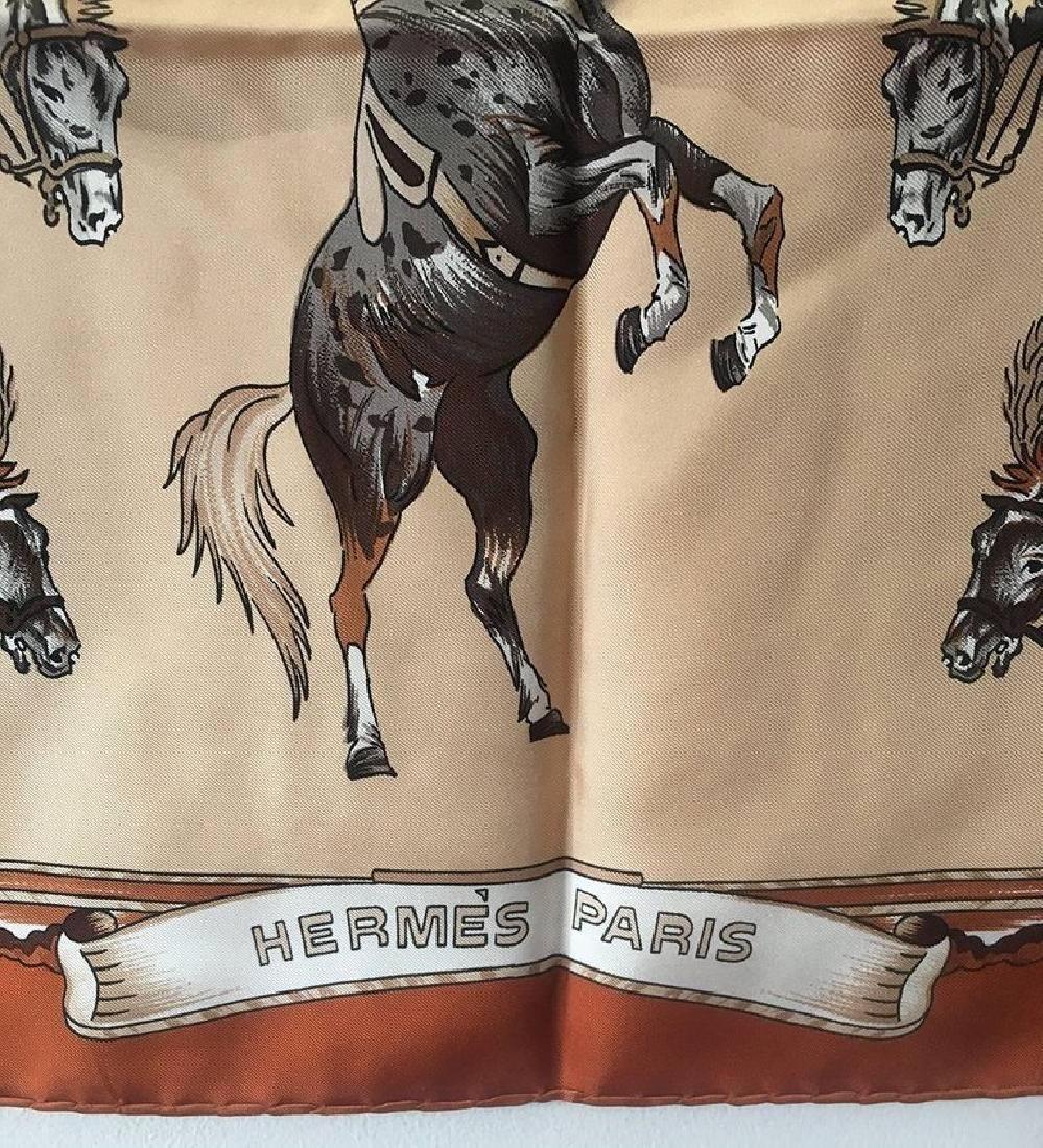 Hermes Vintage En Piste Brown Silk Scarf, circa 1998 - 5