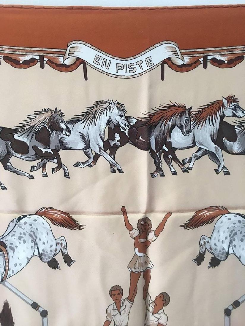 Hermes Vintage En Piste Brown Silk Scarf, circa 1998 - 6