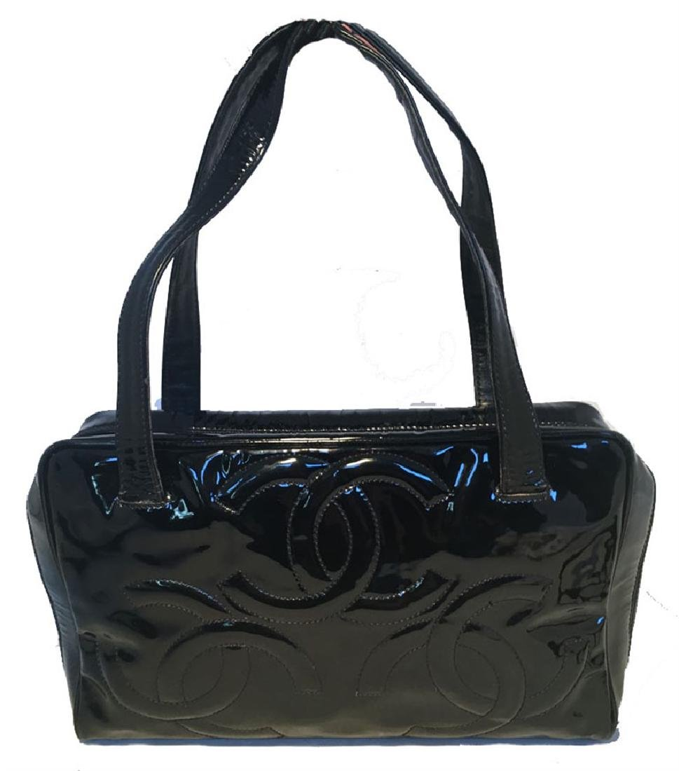 Chanel Black Patent Leather Quilted CC Logo Handbag - 2