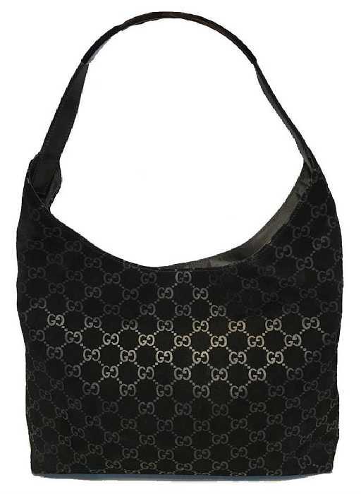 7a282a62676e Gucci Black Suede Monogram Hobo Shoulder Bag