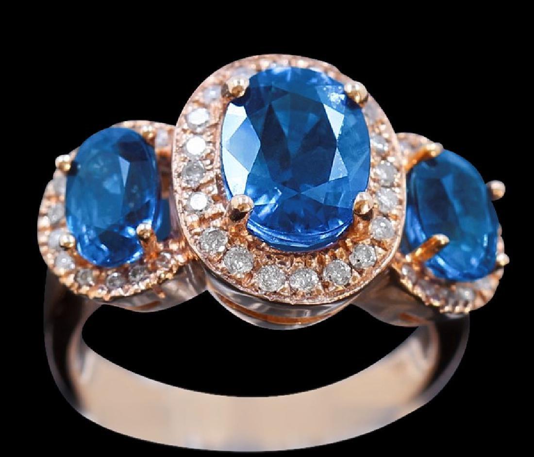 5.49ct GREEN SAPPHIRE/DUBLET 18K Rose Gold Ring
