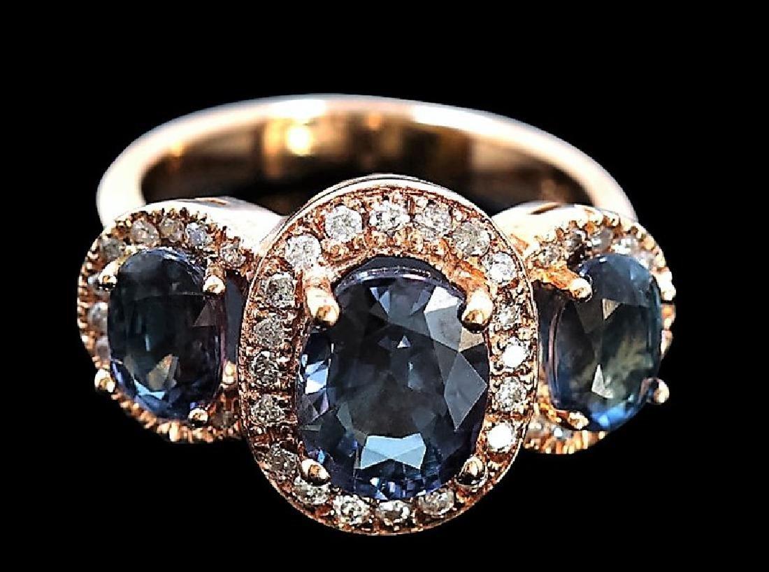 5.49ct GREEN SAPPHIRE/DUBLET 18K Rose Gold Ring - 2