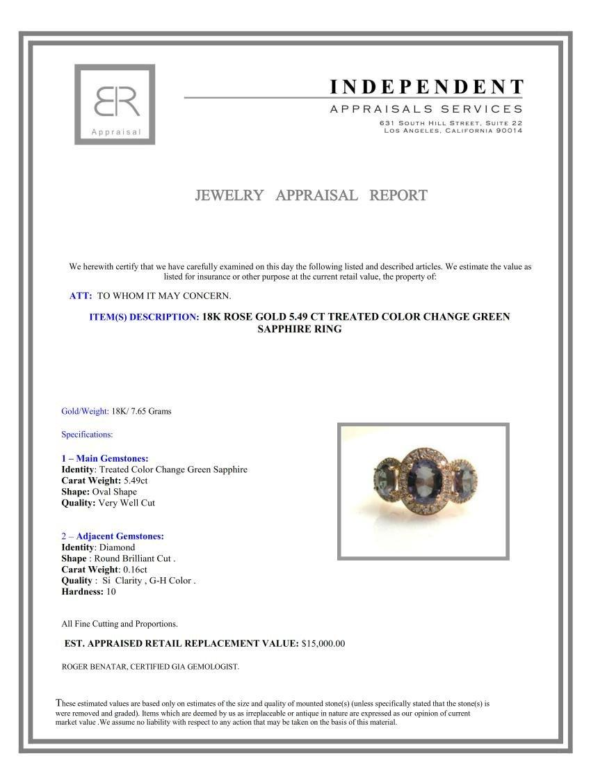 5.49ct GREEN SAPPHIRE/DUBLET 18K Rose Gold Ring - 3