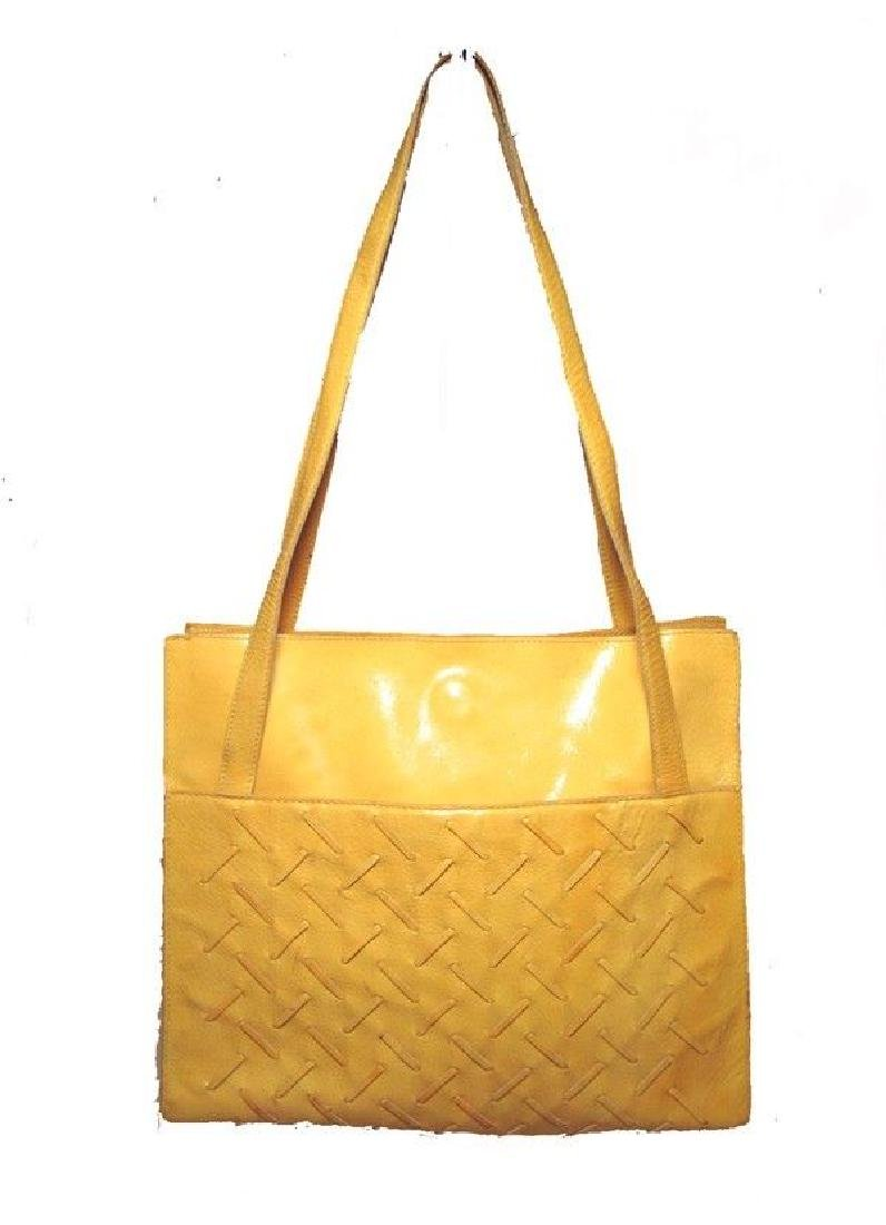 Bottega Veneta Vintage Yellow Patent Leather Shoulder