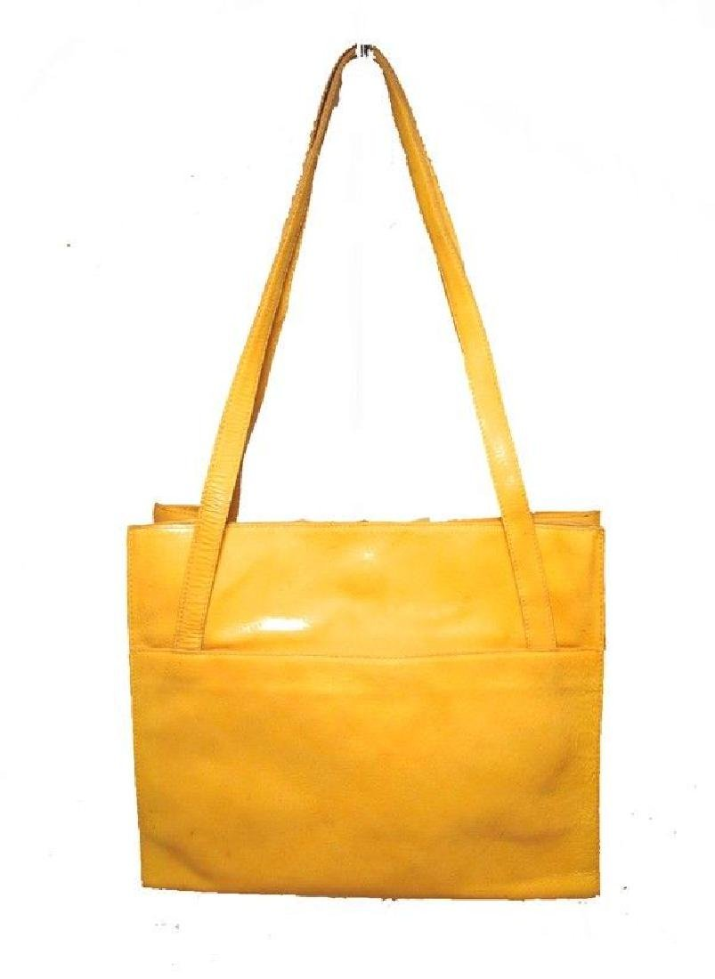 Bottega Veneta Vintage Yellow Patent Leather Shoulder - 2