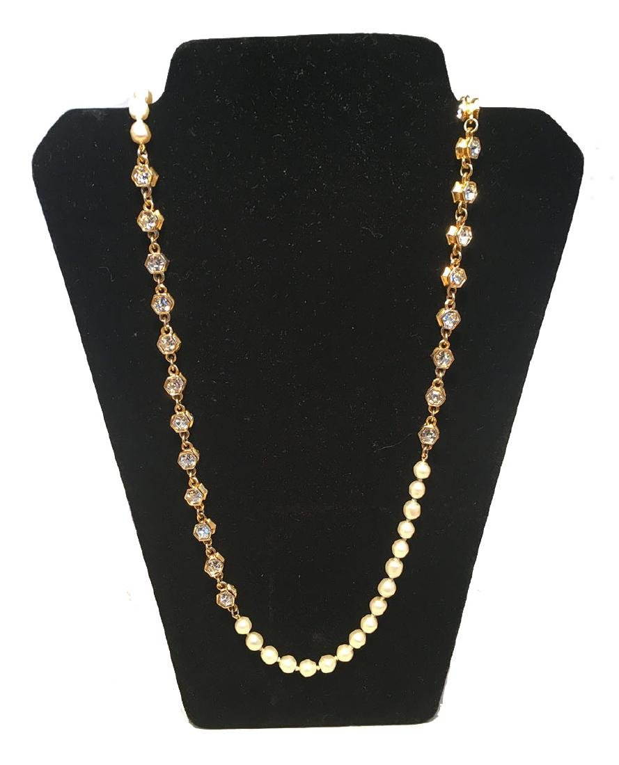 Chanel Vintage Pearl and Crystal Beaded Necklace