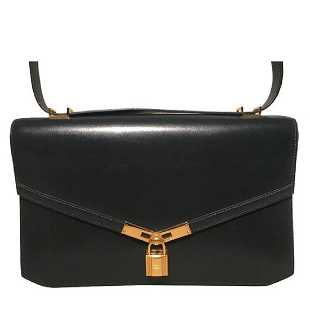 3a189e21f1b4 Hermes Vintage Navy Blue Leather Kelly Lock Front Flap