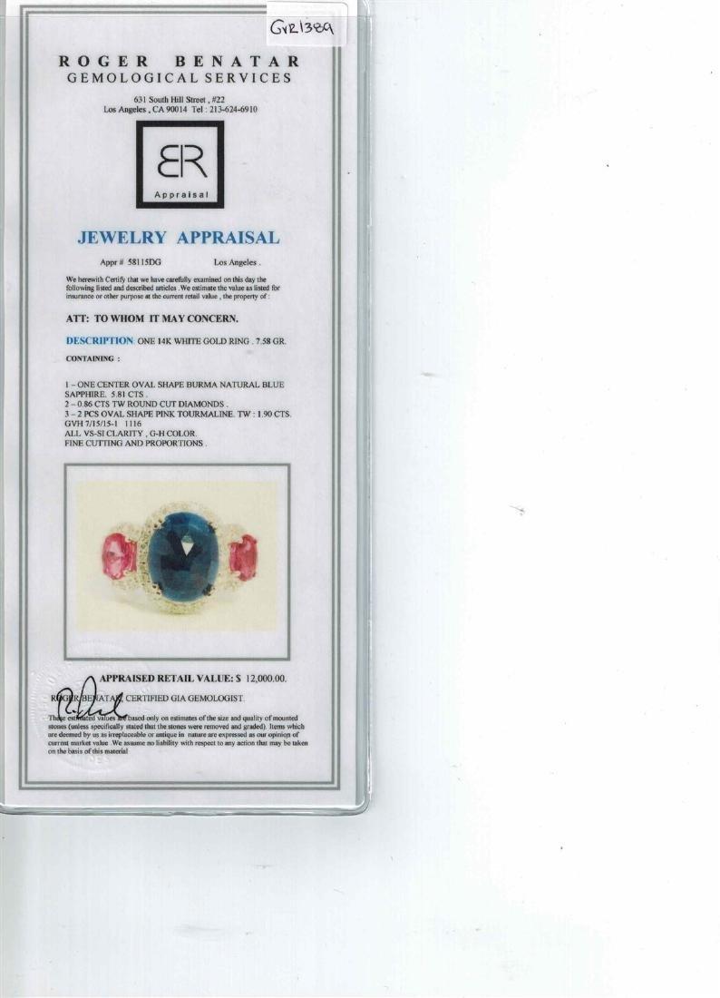 5.81CT NATURAL CEYLON BLUE SAPPHIRE / PINK TOURMALINE - 3