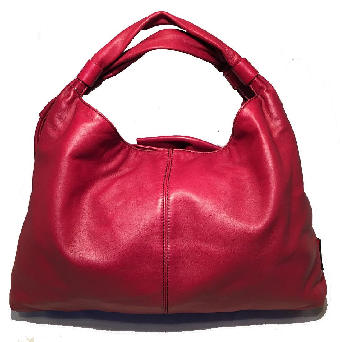 Valentino Red Leather Bow Front Hobo Shoulder Bag