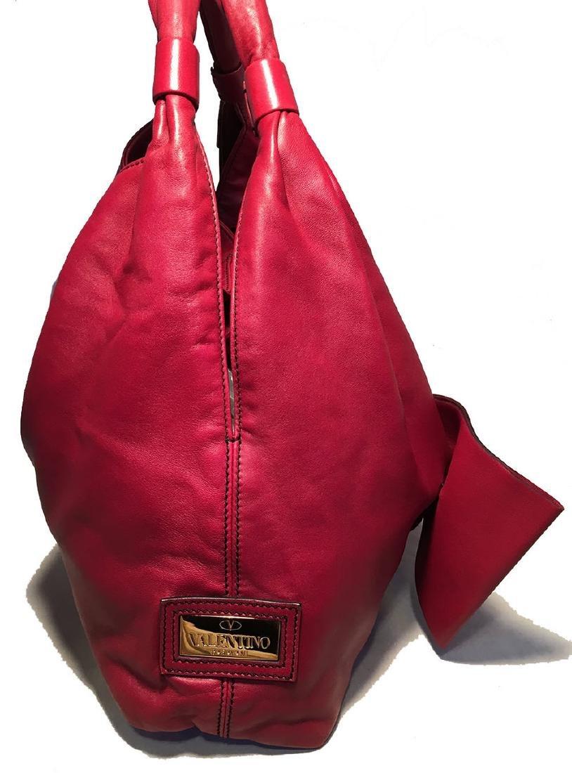 Valentino Red Leather Bow Front Hobo Shoulder Bag - 2