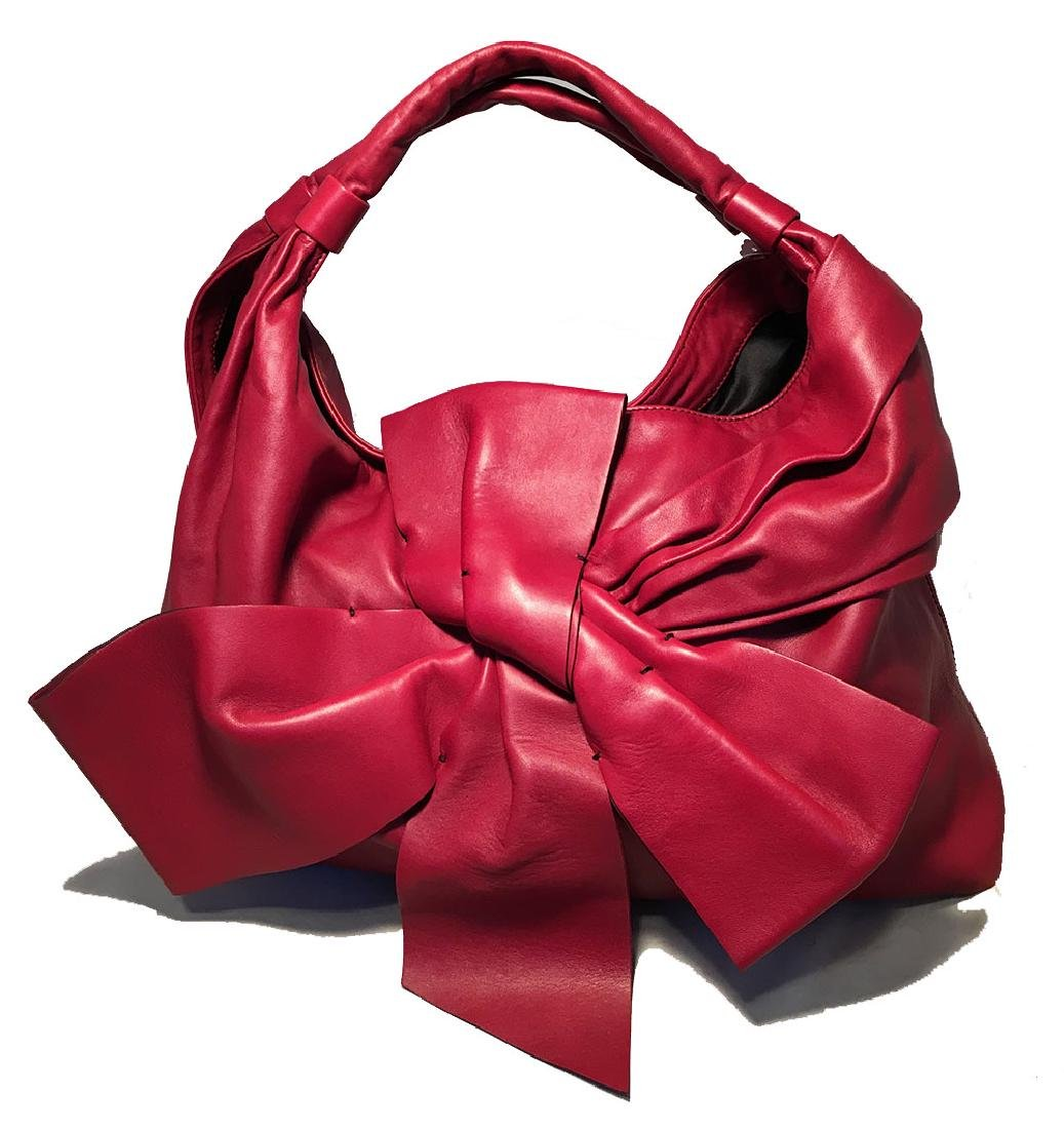 Valentino Red Leather Bow Front Hobo Shoulder Bag - 3