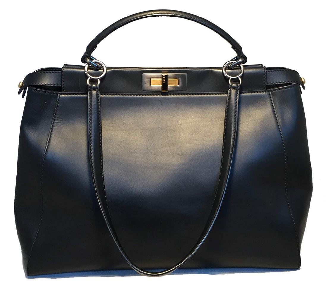 Fendi Black Leather Selleria Peekaboo Shoulder Bag Tote